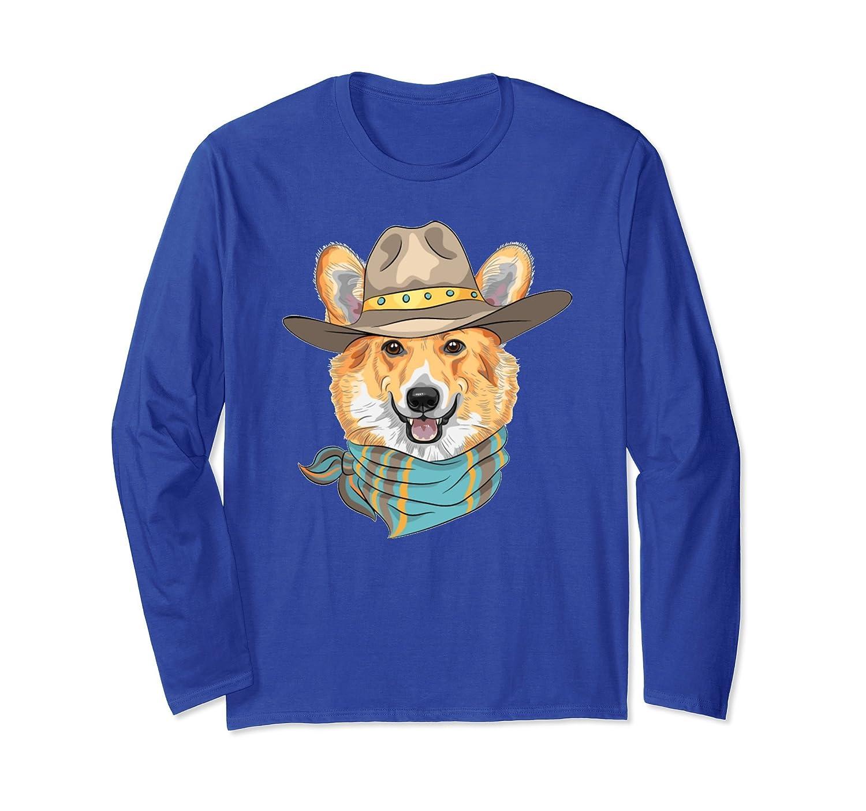 Cute Corgi Dog Wearing Western Cowboy Hat Long Sleeve Shirt-AZP