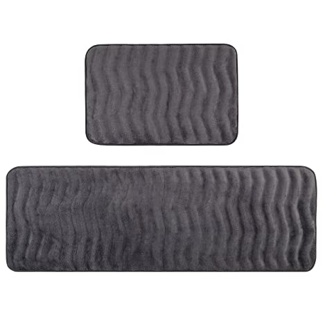 Pauwer Kitchen Rugs Set Of 2 Anti Fatigue Cushioned Memory Foam Kitchen Rugs  And Mats Non