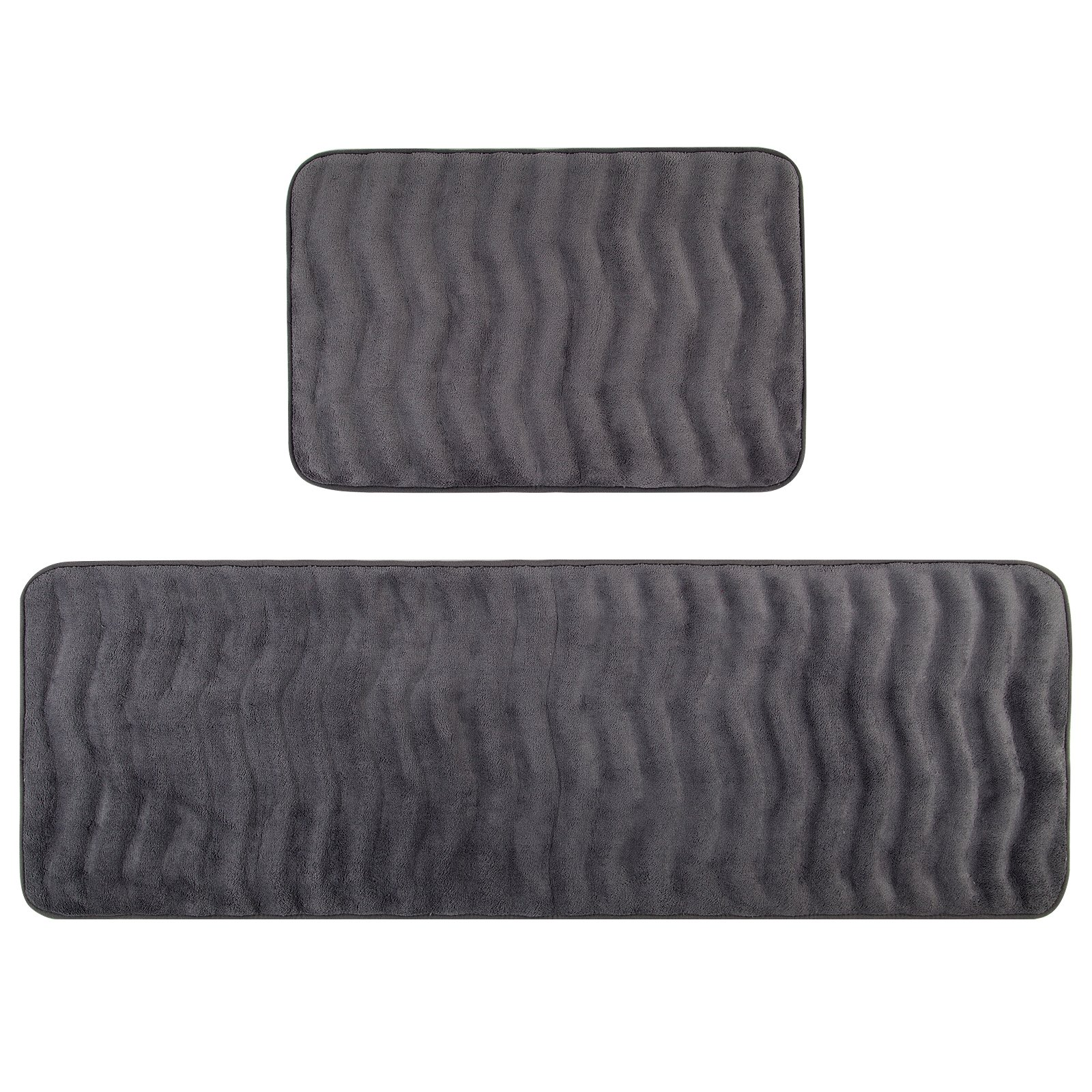 Pauwer Memory Foam Bath Rug Set of 2 Non Slip Long Bath Mat Runner Set (16''x47''and 16''x24'', Grey)