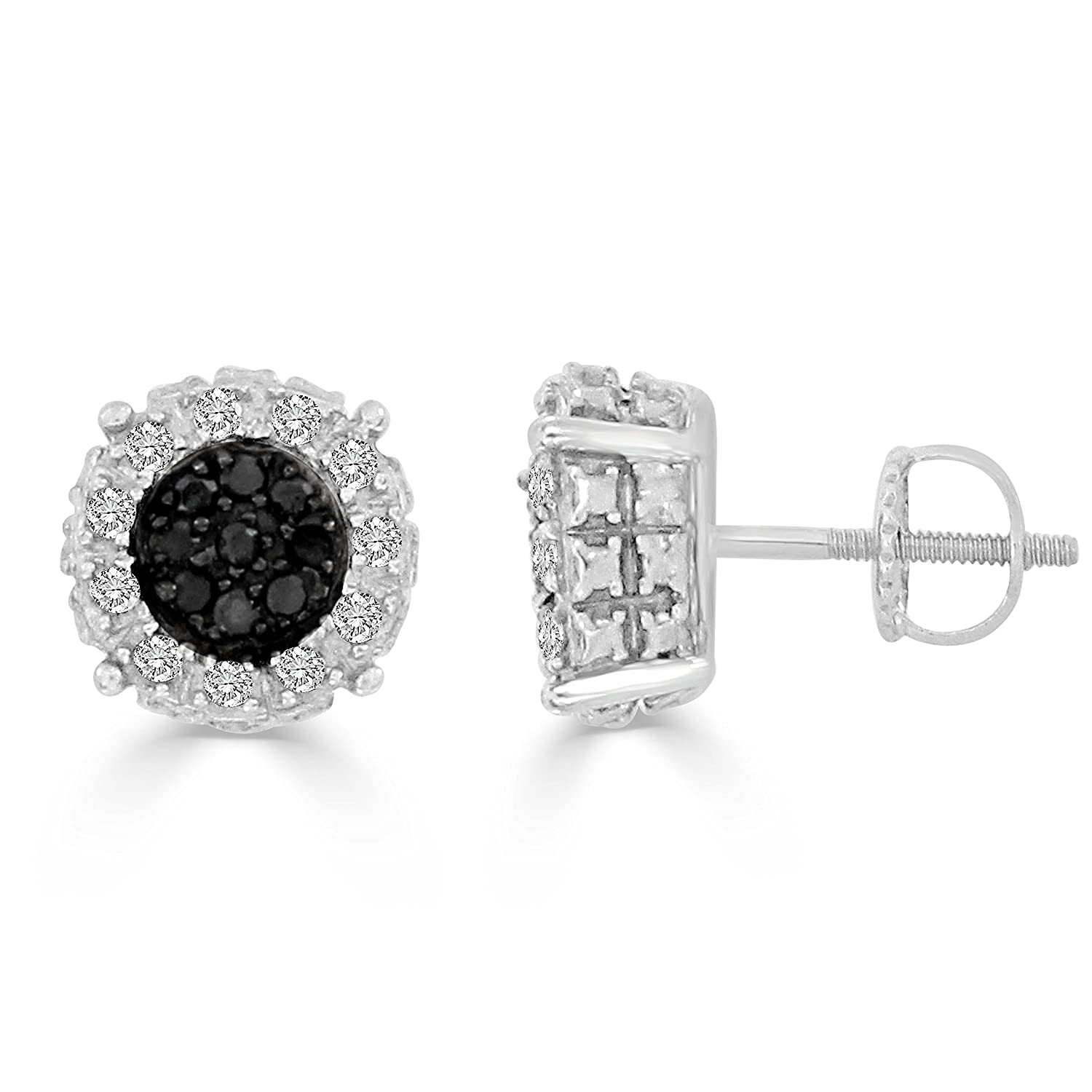 Round Black /& White Diamond Cluster Stud Earrings 1//6 cttw, H-I /& Black Color, I2-I3 /& Heat-Treated Clarity