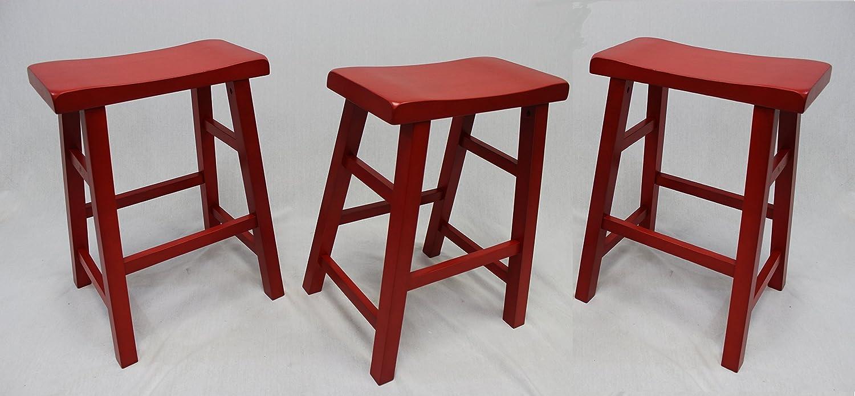 eHemco Set of 3 Heavy Duty Saddle Seat Bar Stools Counter Stools – 24 Red
