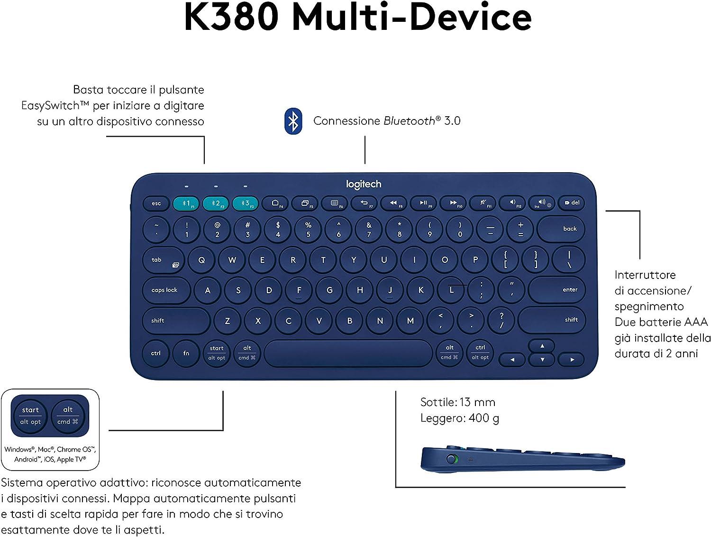 Logitech K380 Teclado Inalámbrico Multi-Dispositivos para Windows, Apple iOS, Android, Chrome, Disposición QWERTY Italiano, Azul