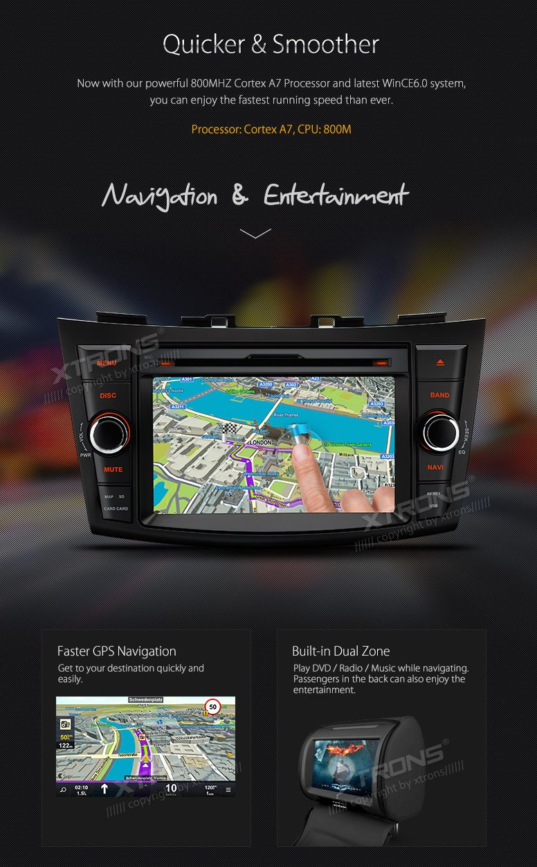 XTRONS 7 Inch HD Digital Touch Screen Car Stereo In-Dash DVD Player with GPS CANbus Screen Mirroring for Suzuki Swift Ertiga Kudos Map Card Included by XTRONS (Image #6)