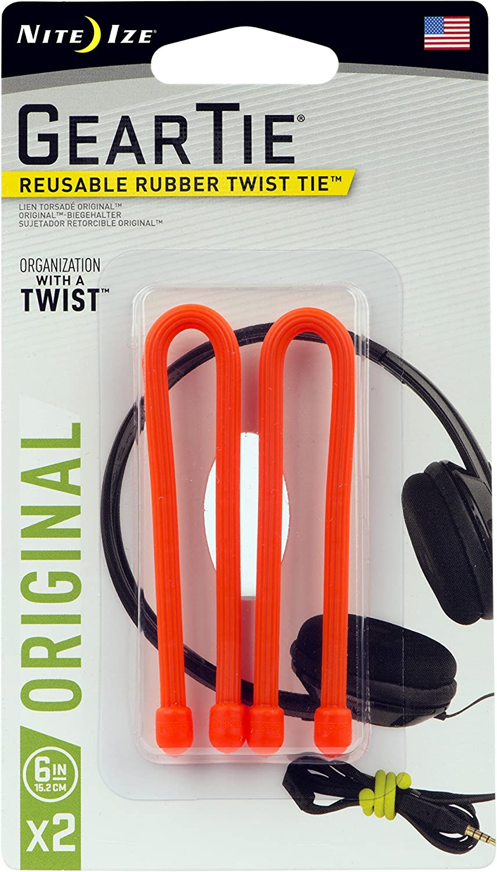 "Nite Ize Gear Tie Loopable Reusable Rubber Twist Tie 18/"" 2-Pack Bright Orange"