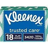 Kleenex Trusted Care Facial Tissues, 18 Rectangular Boxes, 190 Tissues per Box (3,420 Tissues Total)