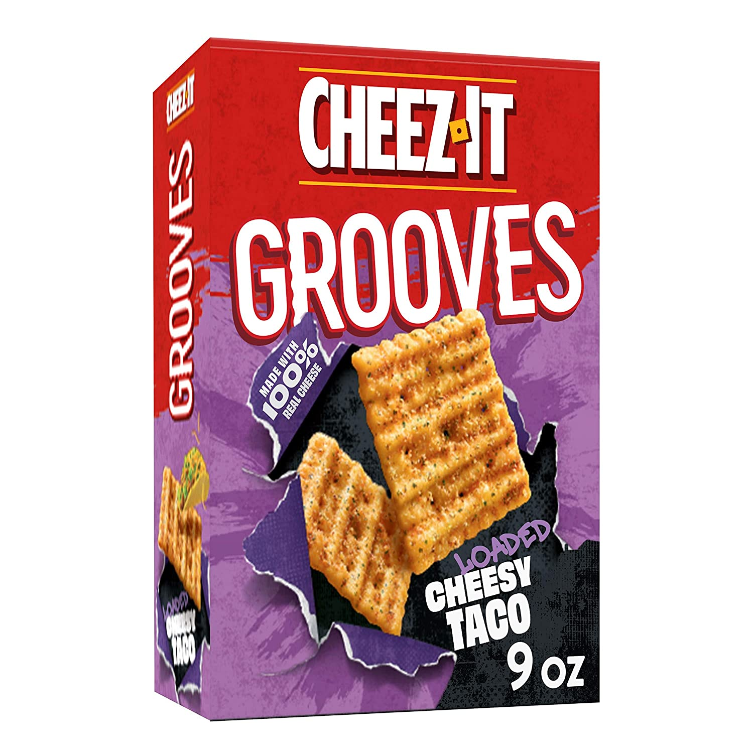 Cheez-ItGrooves, Crunchy Cheese Snack Crackers, Loaded Cheesy Taco, 9oz Box
