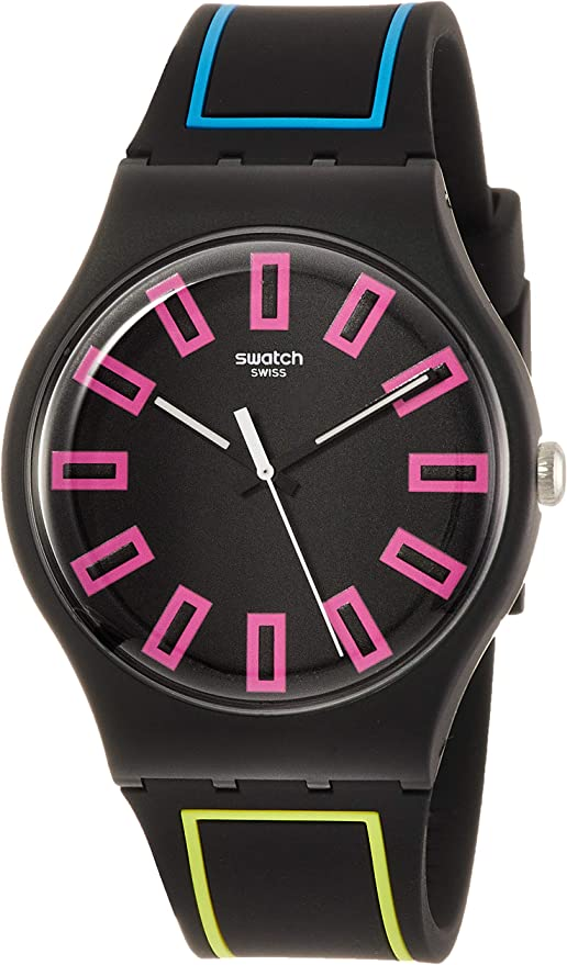 Swatch Around The Strap SUOB146 Black Silicone Quartz Fashion Watch