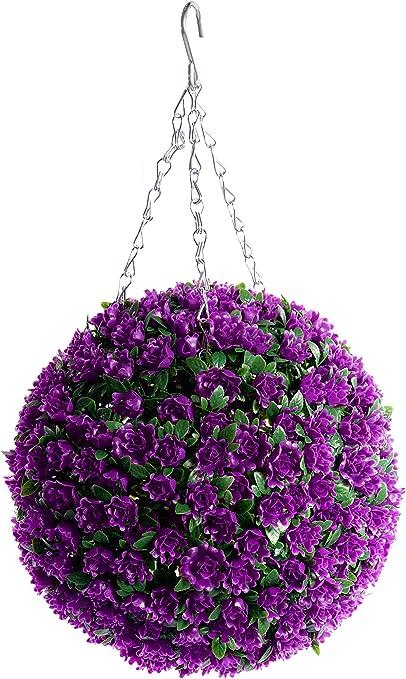 Best Artificial Pair of Yellow Rose Topiary Flower Ball grass hanging garden