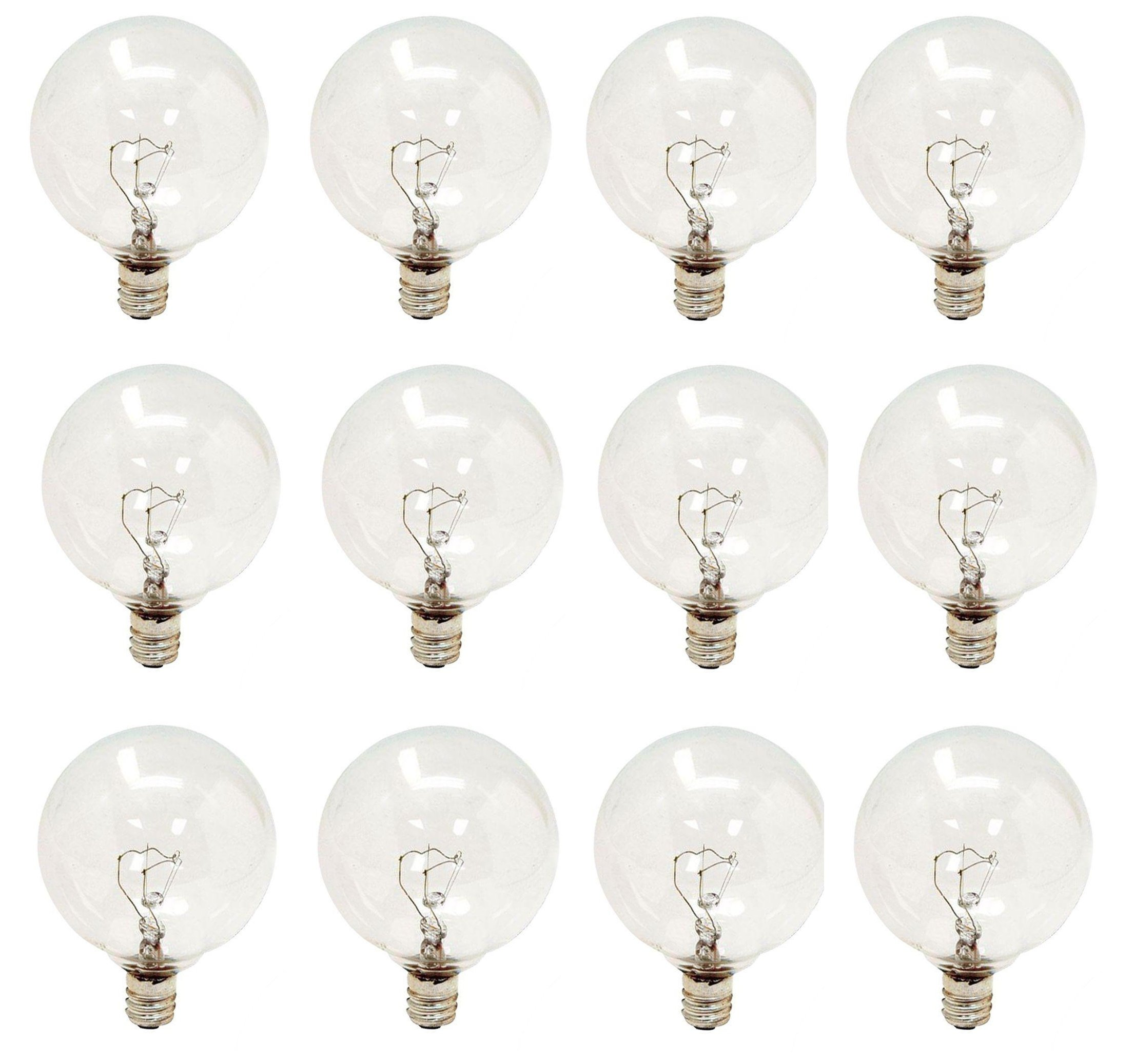 (Pack of 12) Dimmable 25 Watt 120 Volt, Candelabra Base, Globe Shape Light Bulbs, Decorative G16.5, 15G16 1/2, 120v