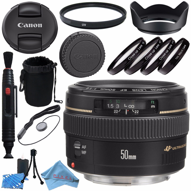 Canon EF 50mm f/1.4 USM Lens 2515A003 + 58mm Macro Close Up Kit + 58mm UV Filter + Lens Cleaning Kit + Lens Pouch + Lens Pen Cleaner + 58mm Tulip Lens Hood Bundle