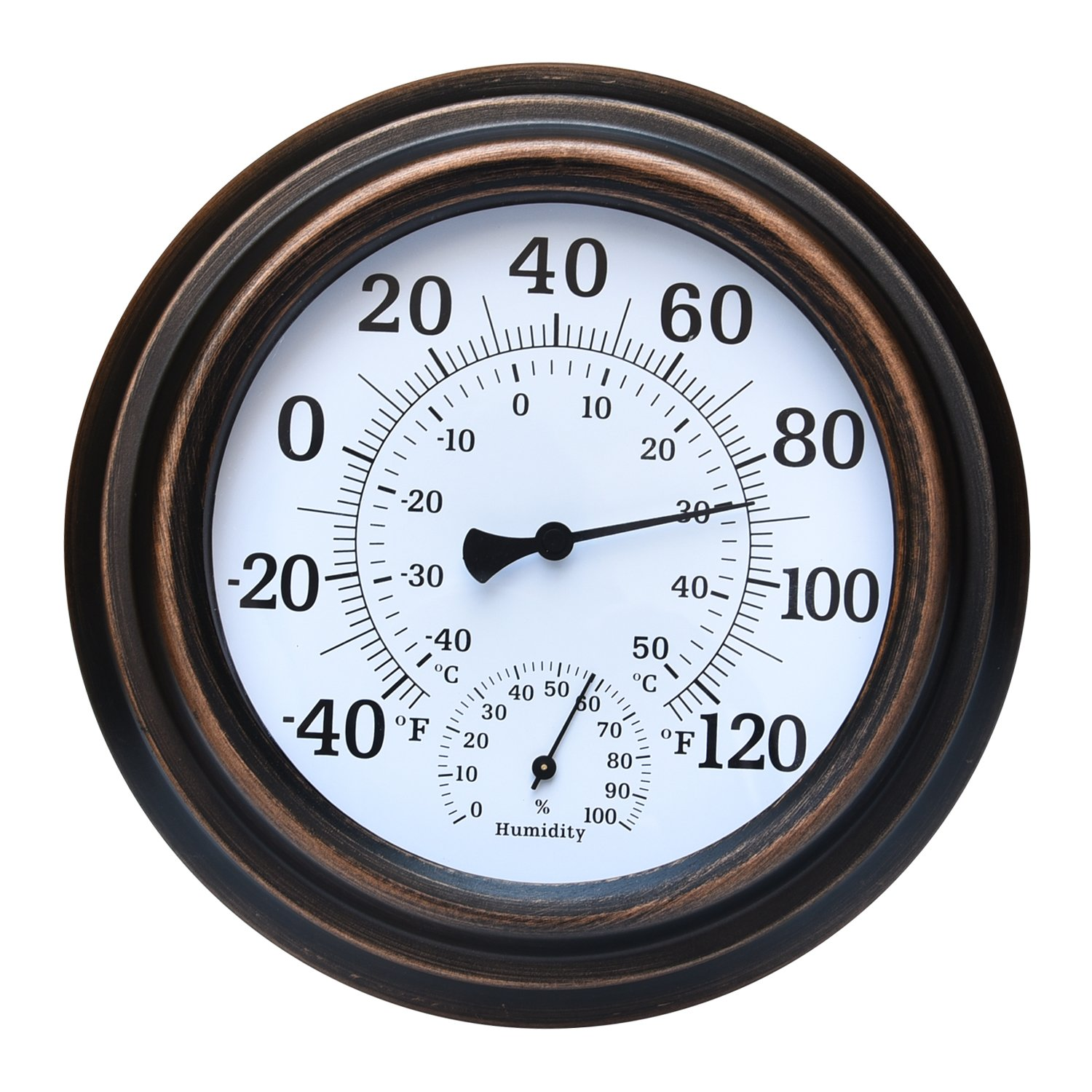MIHE 8'' Metal Decorative Indoor/Outdoor Thermometer for Garden, Pool, Kitchen, Patio Wall Hygrometer Thermometer(Bronze)
