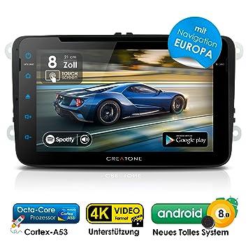 Radio para coche 2DIN Autoradio Android 8.0 CREATONE AWS-8800 con navegación GPS (mapas