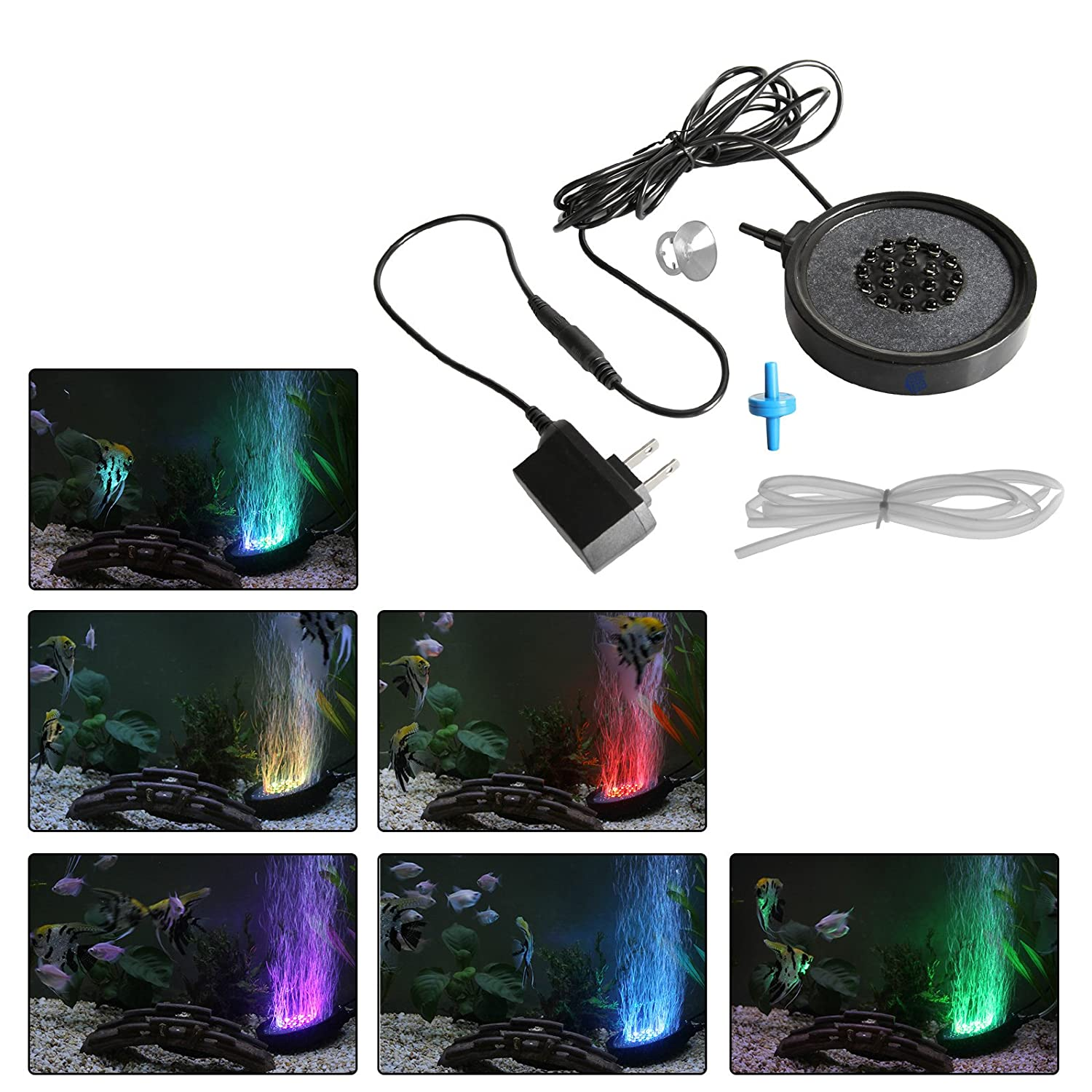 GBGS Air Stone with LED Air Bubble Disk with 12 RGB LED Light for Fish Tank Aquarium