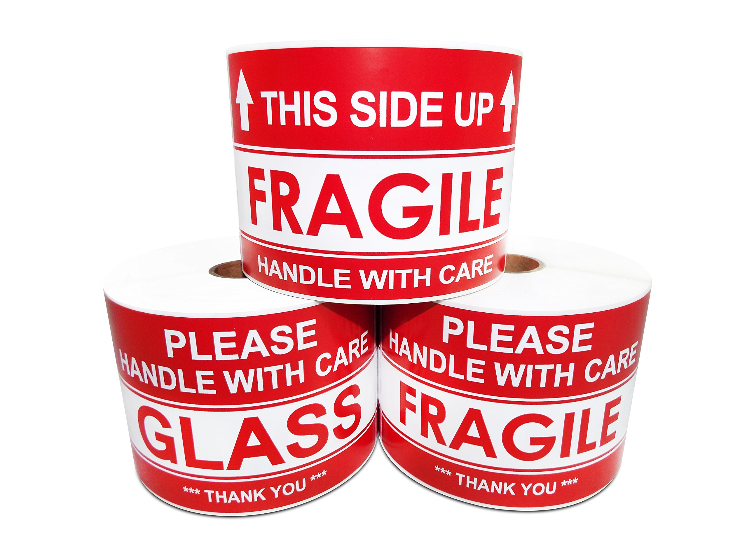 3'' X 5'' This Side Up Arrow - Handle With Care, Warning Shipping Labels (1 Roll, 500 Stickers/Roll)