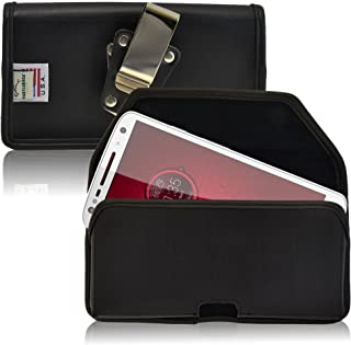 product image for Turtleback Belt Case Made for Motorola Droid Turbo 2 Black Holster Leather Pouch with Heavy Duty Rotating Ratcheting Belt Clip Horizontal Made in USA