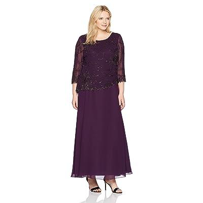 J Kara Women's Plus Size Scoop Neck Line Long Dress at Women's Clothing store