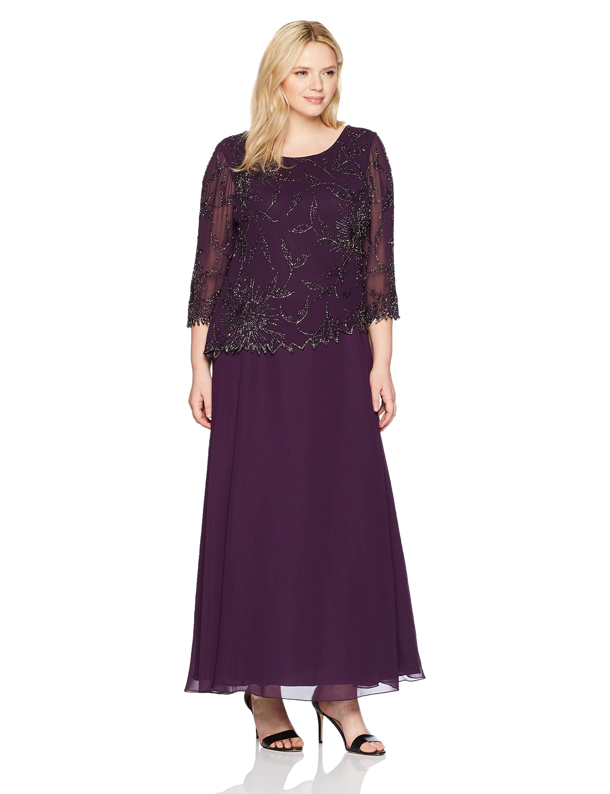 J Kara Women\'s Plus Size Long Scoop Neck Asymetrical Beaded Dress,  Plum/Shaded/Mercury, 18W