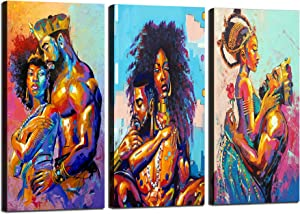 3 Panels African American Lovers Couple Canvas Prints Wall Art Posters Print Modern Home Decor Artwork HD Pictures for Living Room Bedroom Bathroom Wall Decoration Framed Ready to Hang [36''W x 24''H]