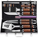 ROMANTICIST 25pcs Extra Thick Stainless Steel Grill Tool Set for Men, Heavy Duty Grilling Accessories Kit for Backyard, BBQ U