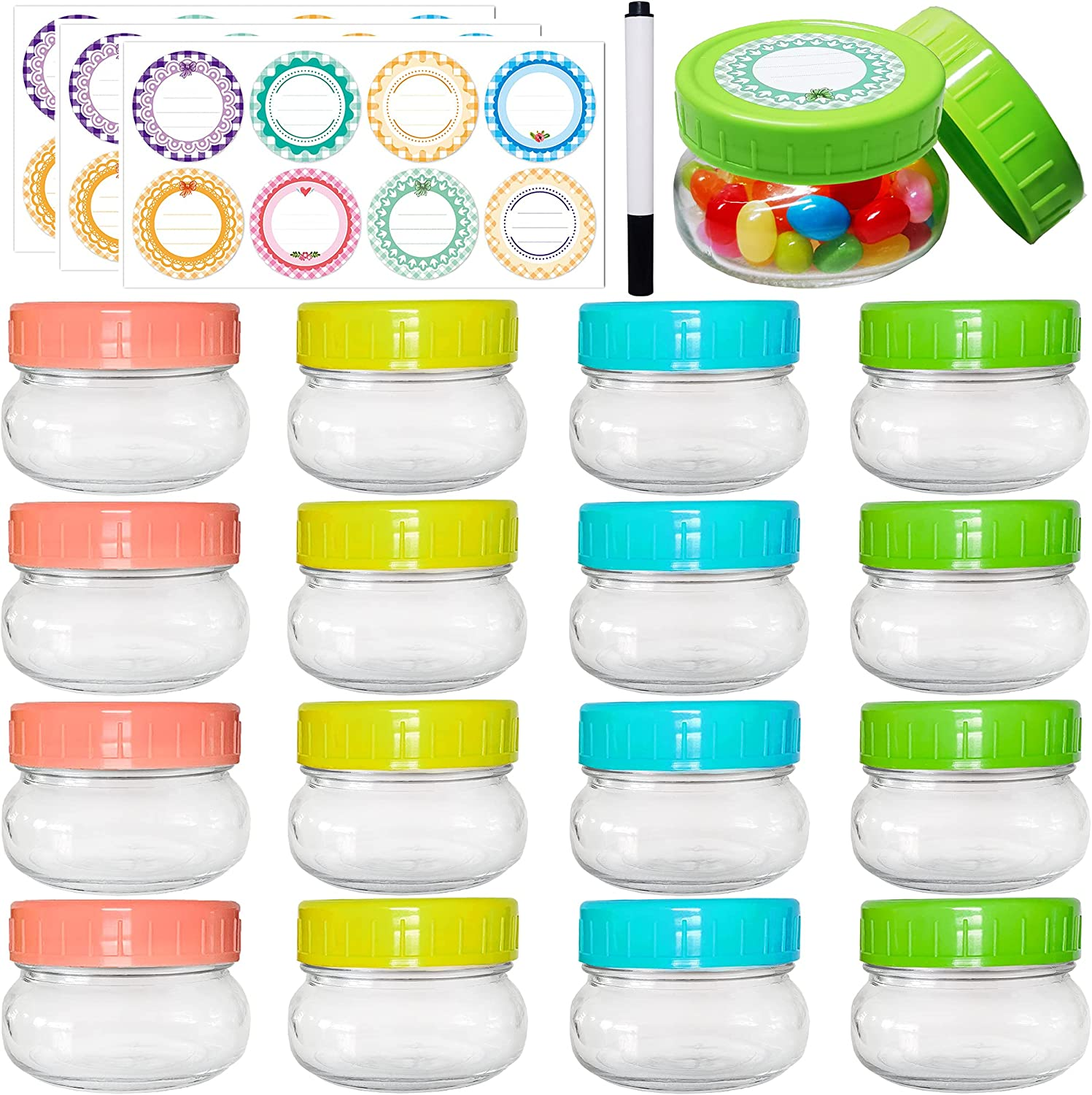Mini Mason Jars 5 oz - 16 Pack Small Canning Glass Jars with Lids, Glass Round Cute Jars with Art Multicolor Waterproof Labels & Chalk Marker, Clear Containers Storage Jar for your Candy, Jelly, Overnight Oats, Yogurt, Honey & Baby Food (16-Pack with Multicolor Lids)