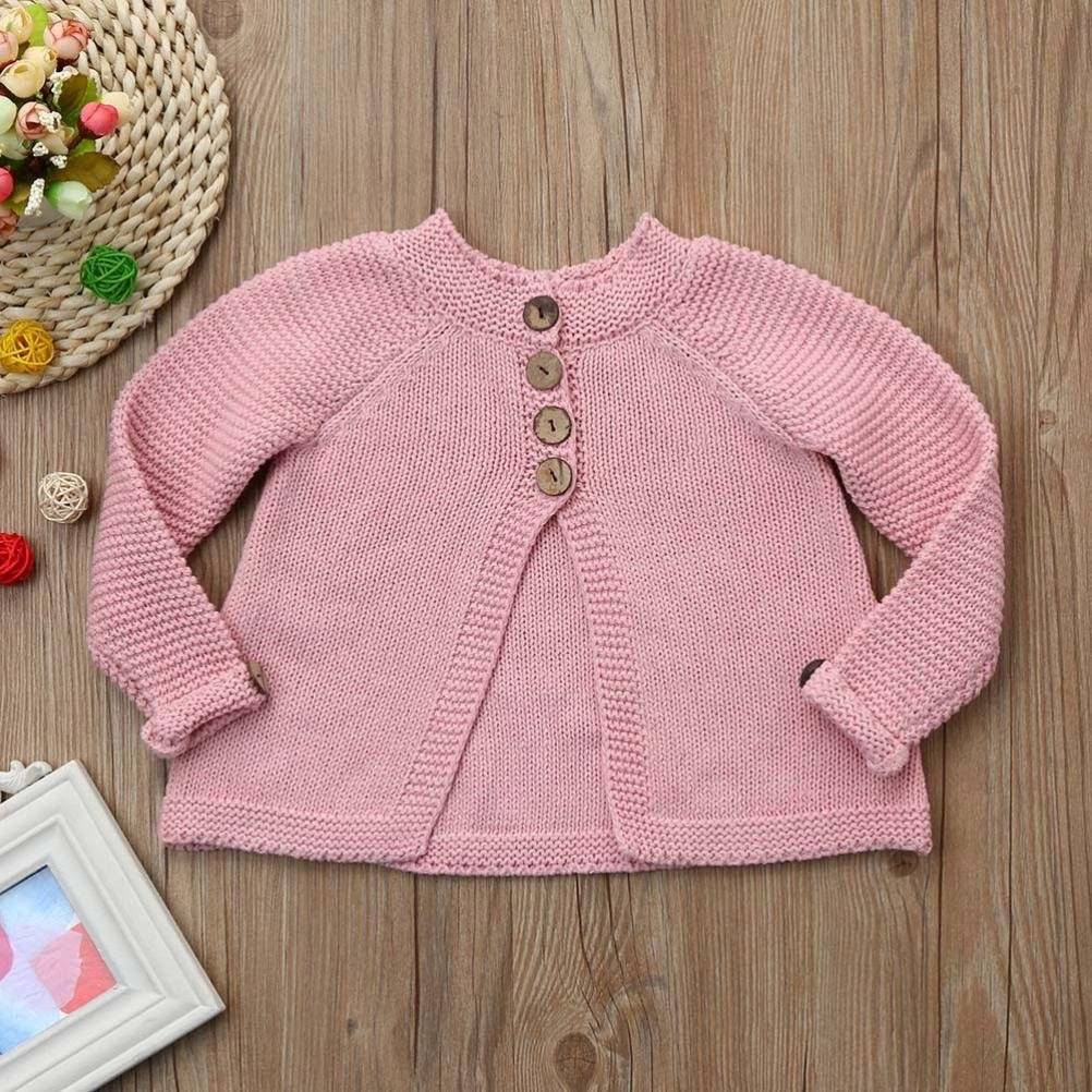 Gift! Toddler Baby Girls Outfit WensLTD Button Knitted Sweater Cardigan Coat Tops 2T, Pink