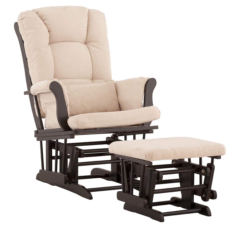 Amazon.com: Stork Craft Tuscany Custom Glider And Ottoman With Free Lumbar  Pillow, Black/Beige: Baby