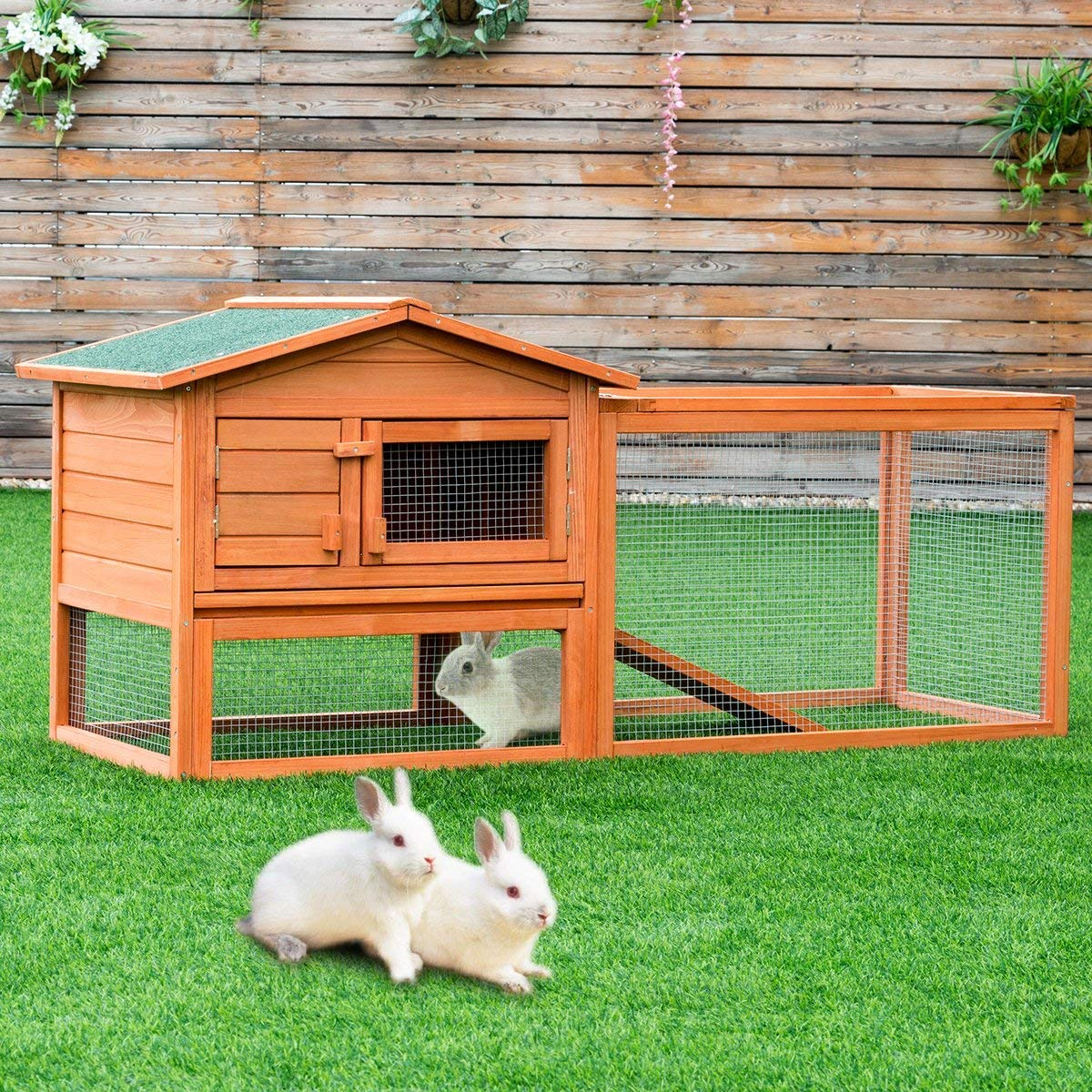 Tangkula Chicken Coop Outdoor Wooden Chicken Coop Garden Backyard Farm Bunny Hen House Rabbit Hutch Small Animal Cage Pet Supplies for Chicken, Duck, Rabbit, etc (61.5'' x 20.5'' x 27''(L x W x H)) by Tangkula (Image #1)
