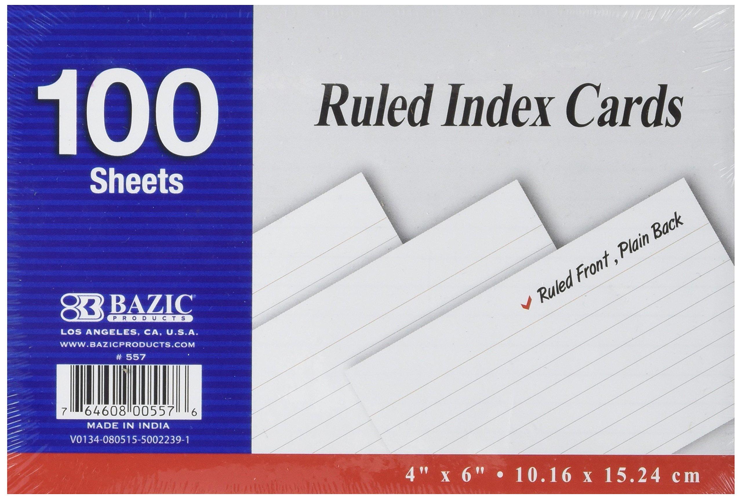 BAZIC 100 Ct. 4'' X 6'' Ruled White Index Card