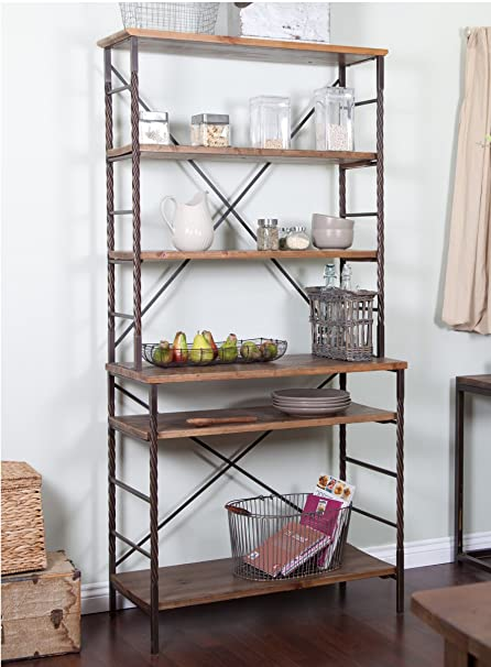 Industrial Rustic 6 Tier Metal With Adjustable Wood Shelves Bakers Rack For  Kitchens   Includes Modhaus