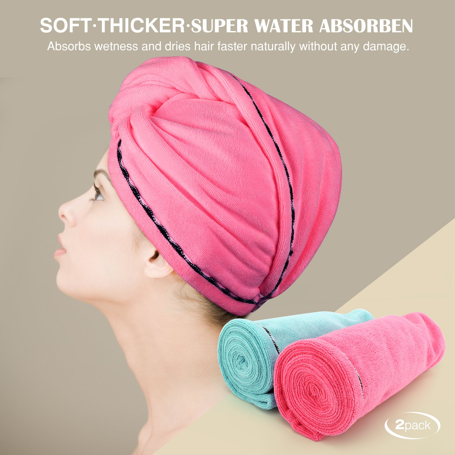 Luxspire 2 Pack Microfiber Hair Drying Towels, Fast Drying Hair Cap, Long Hair Wrap Turban, Bath Shower Head Towel with Buttons, Super Water-absorbent, Blue & Rose Red by Luxspire (Image #2)