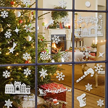 Christmas window stickerswhite snowflakes reindeer window clings decal stickers xmas winter wonderland decorations ornaments