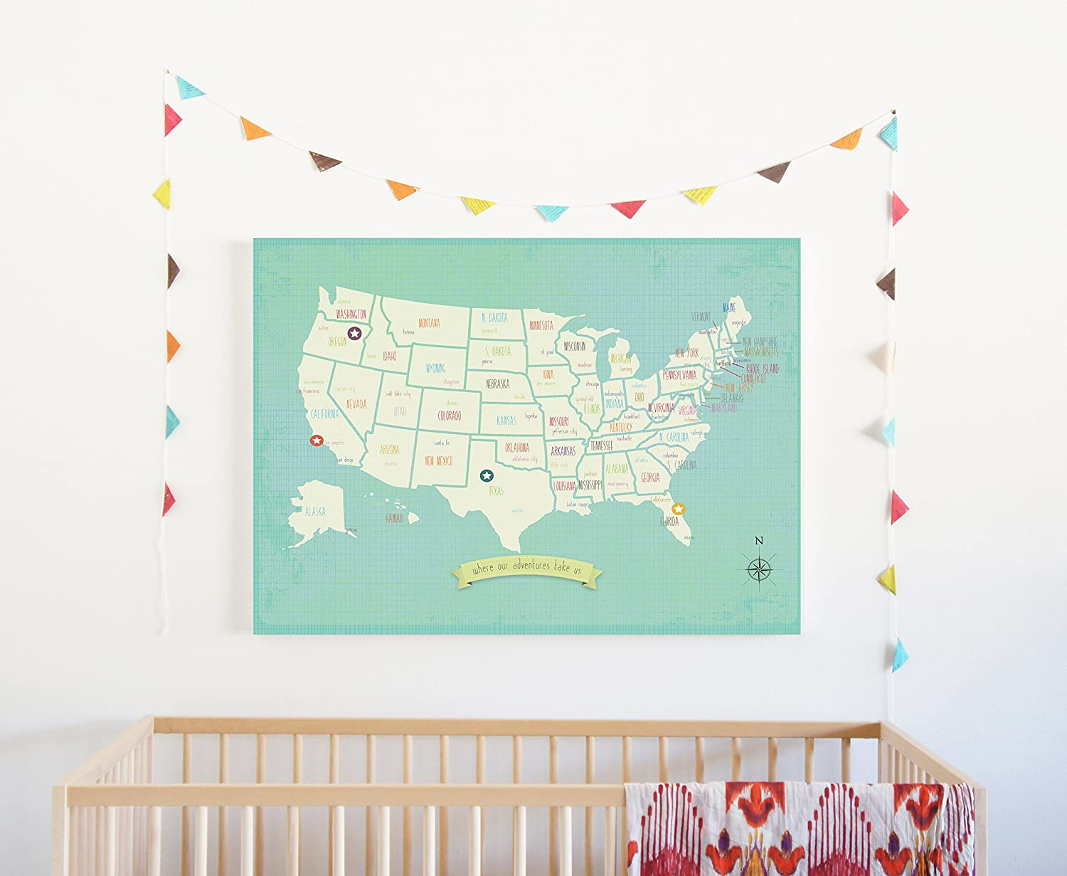 amazon com my travels personalized usa map 24 x 18 wall art print poster bohemian boho nordic style for children kids toddlers baby newborn with stickers