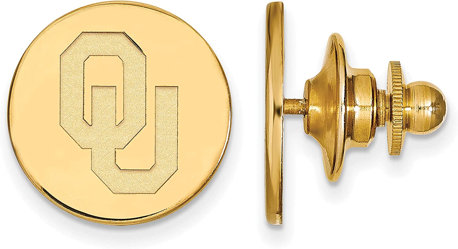 Oklahoma Sooners OU Red School Letters Logo Disc Pendant Gold Plated Silver 13x12mm