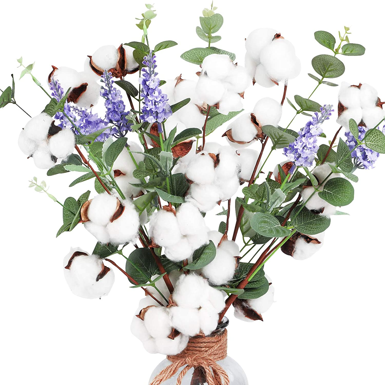 AGEOMET 6pcs Cotton Stems, Artificial Cotton Flower Branches with Eucalyptus Lavender in Bulk, Faux Cotton Heads Dried Cotton Floral Arrangements for Vases Farmhouse Decor Plastic Outdoor Flowers