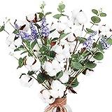 AGEOMET 6 hastes de algodão de 50 cm, 4 cabeças de algodão com folhas de eucalipto e flor de lavanda para decoração de casa e