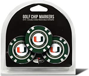 Team Golf NCAA Golf Chip Ball Markers (3 Count), Poker Chip Size with Pop Out Smaller Double-Sided Enamel Markers