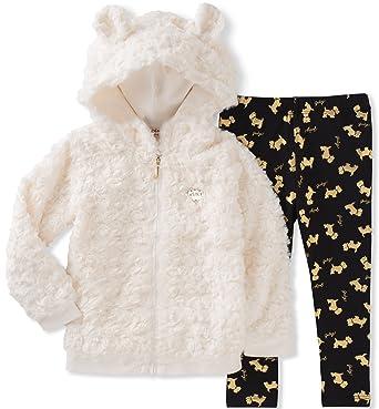 b94b4adcc9f6 Juicy Couture Toddler Girls' Faux Fur Jacket Pant Sets, Egret/Black Pool/