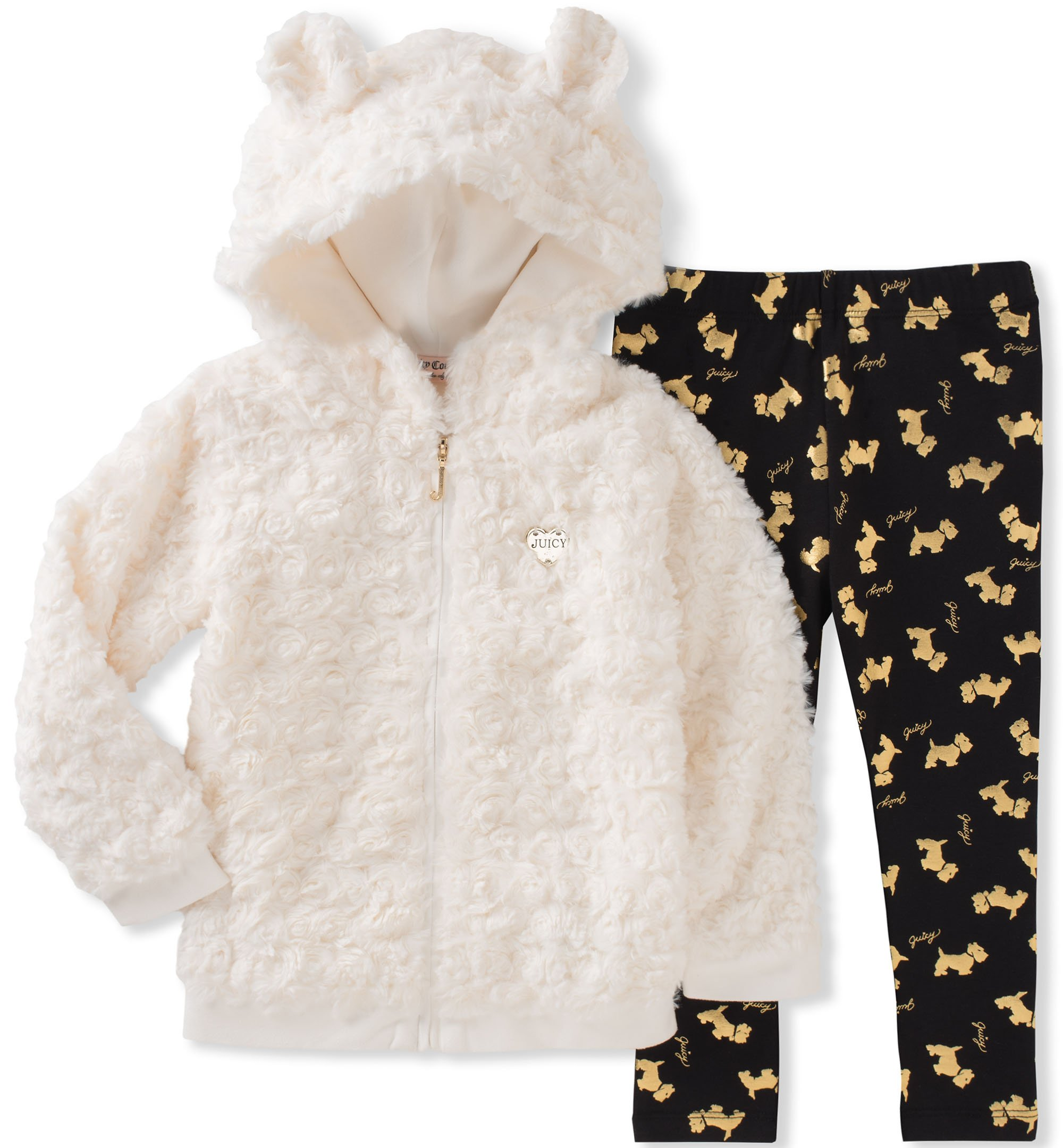Juicy Couture Toddler Girls' Faux Fur Jacket Pant Sets, Egret/Black Pool/Gold, 4T