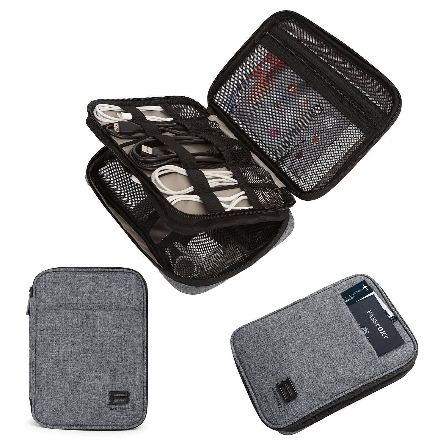 BAGSMART Double-layer Travel Cable Organizer Electronics Accessories Cases for cables, iphone, kindle charge, camera charger, macbook charger, Grey