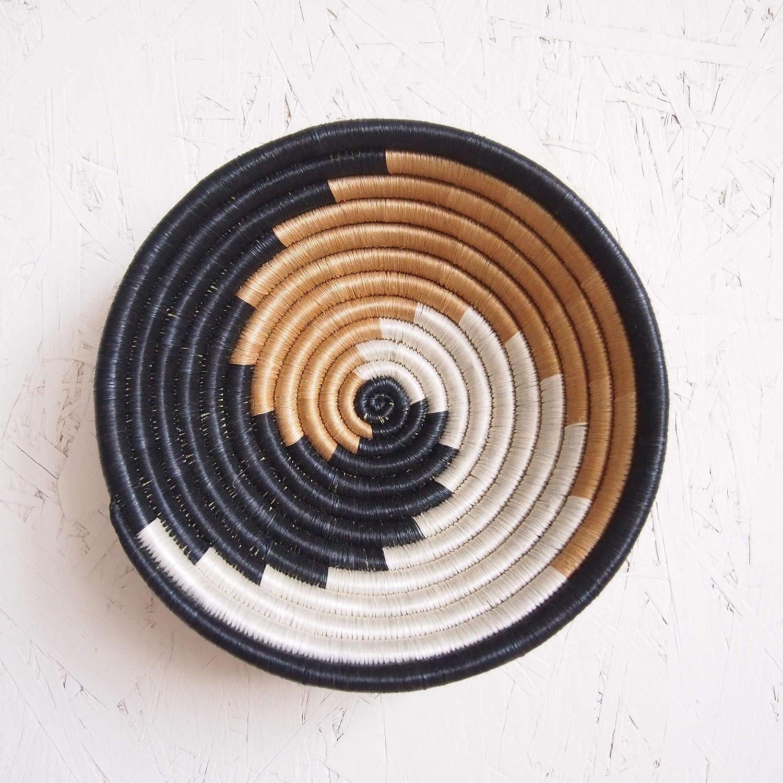Rwanda Basket//Woven Bowl//Sisal /& Sweetgrass Basket//Tans White Small African Basket #603