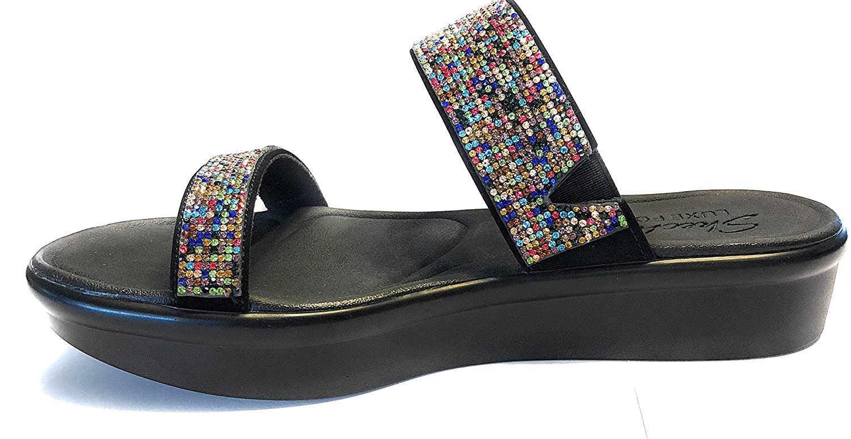 Skechers Women's Bumblers-Bright Start Slide Sandal B0755PLCQD 5 B(M) US|Black/Multi