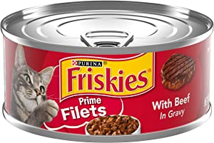 Purina Friskies Gravy Wet Cat Food, Prime Filets With Beef in Gravy - (24) 5.5 oz. Cans