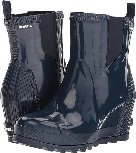 2406d6131580 SOREL Joan Rain Wedge Chelsea Gloss Women s Waterproof Boots Collegiate  Navy Atmosphere (9.5 B