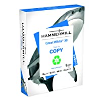 Hammermill Printer Paper, Great White 30% Recycled Copy Paper, 20lb, 8.5 x 11, Letter, 92 Bright - 1 Pack/500 Sheets (086710R)
