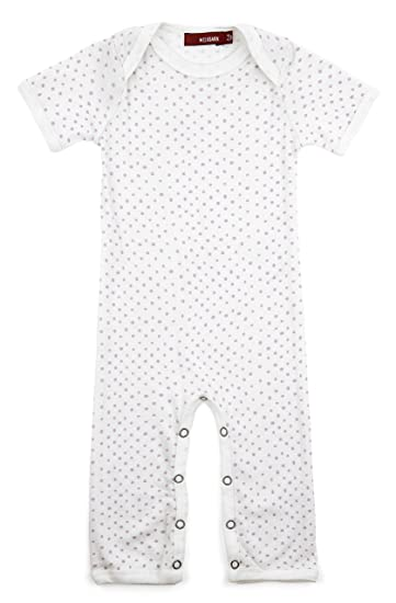 17109c364 Amazon.com  Milkbarn Organic Cotton Short Sleeve Romper (Purple Dots ...