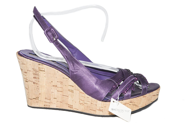 Silvana 776/s Italian Womens Purple Wedge Strappy Sandals with Swarovski Elements B07CW435NF 40 M EU