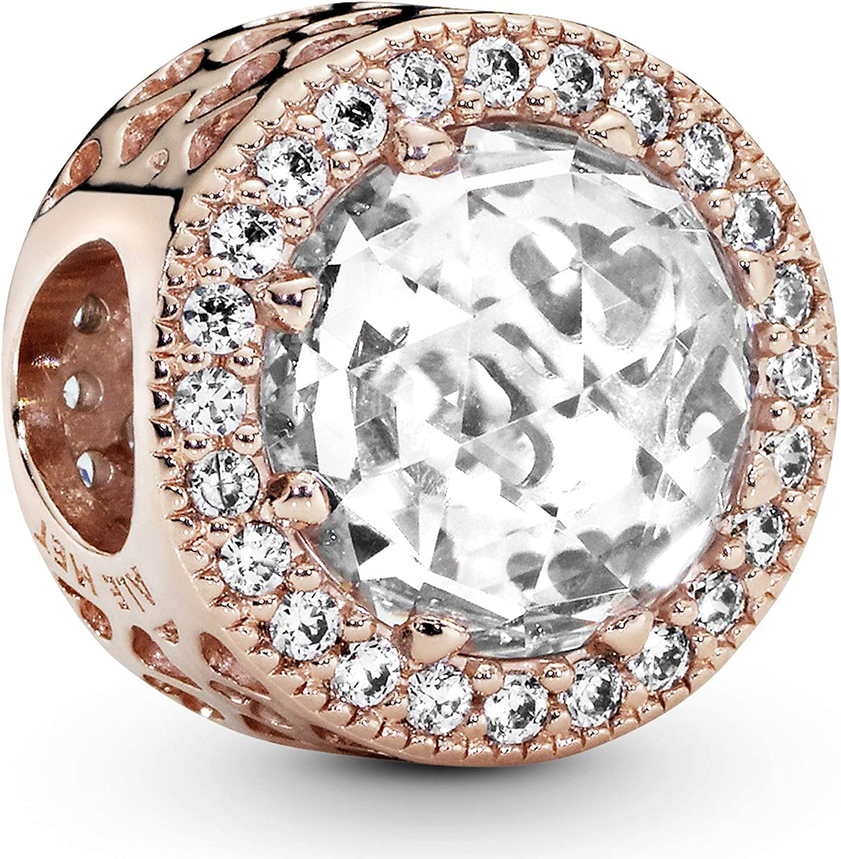 Pandora Jewelry Sparkling Clear Cubic Zirconia Charm in Pandora Rose