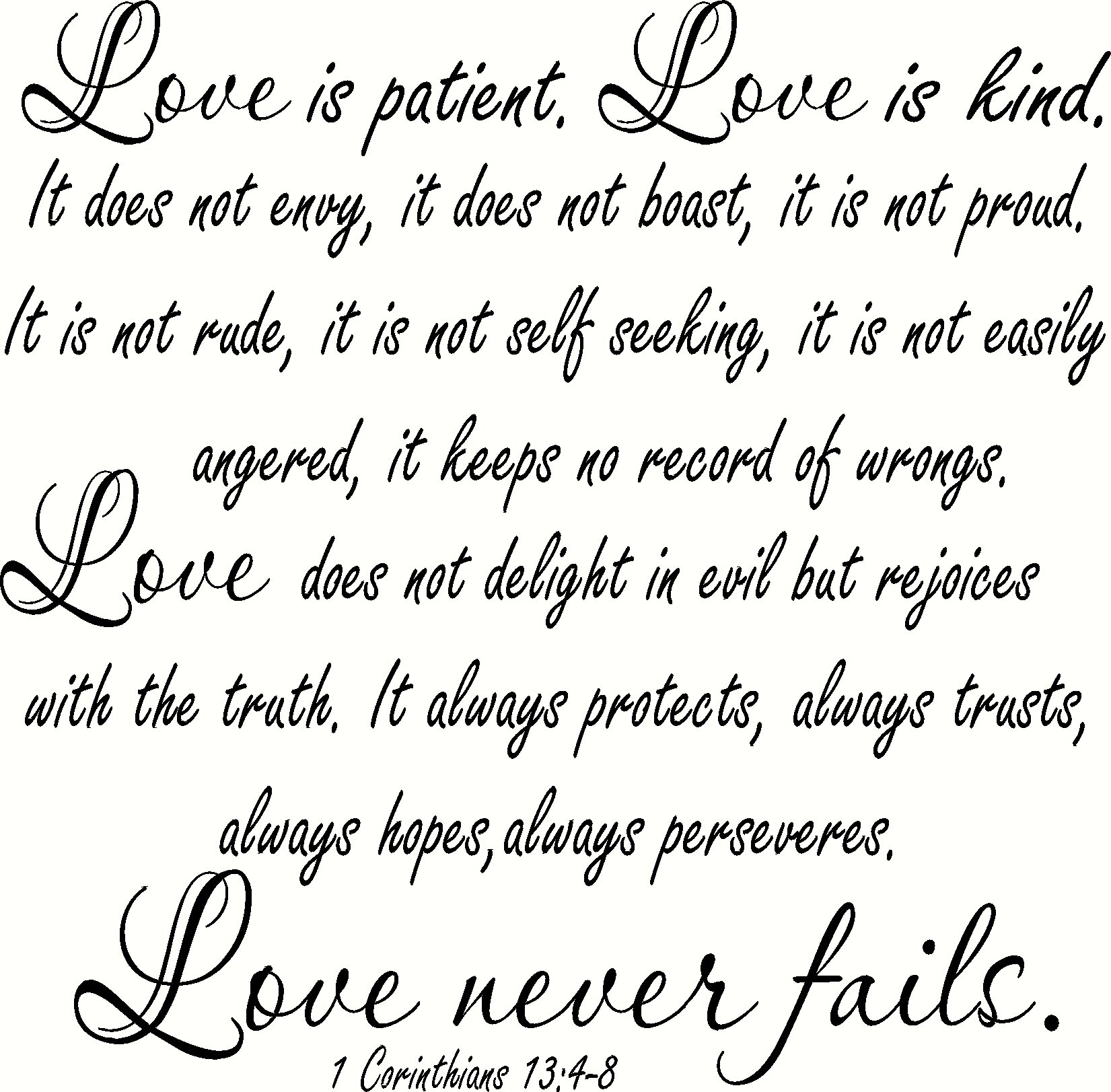 "6 Corinthians 63:6-6 V6 66"" x 66"" Large Size, Bible Verse Vinyl Wall Decal  by Scripture Wall Art Love Quotes, Love is patient, Love is Kind, Love"