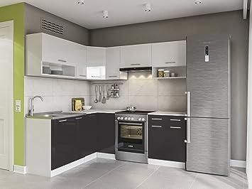 Eldorado Möbel Küche Lux 210 Cm Schwarz L Form Küchenzeile Eck