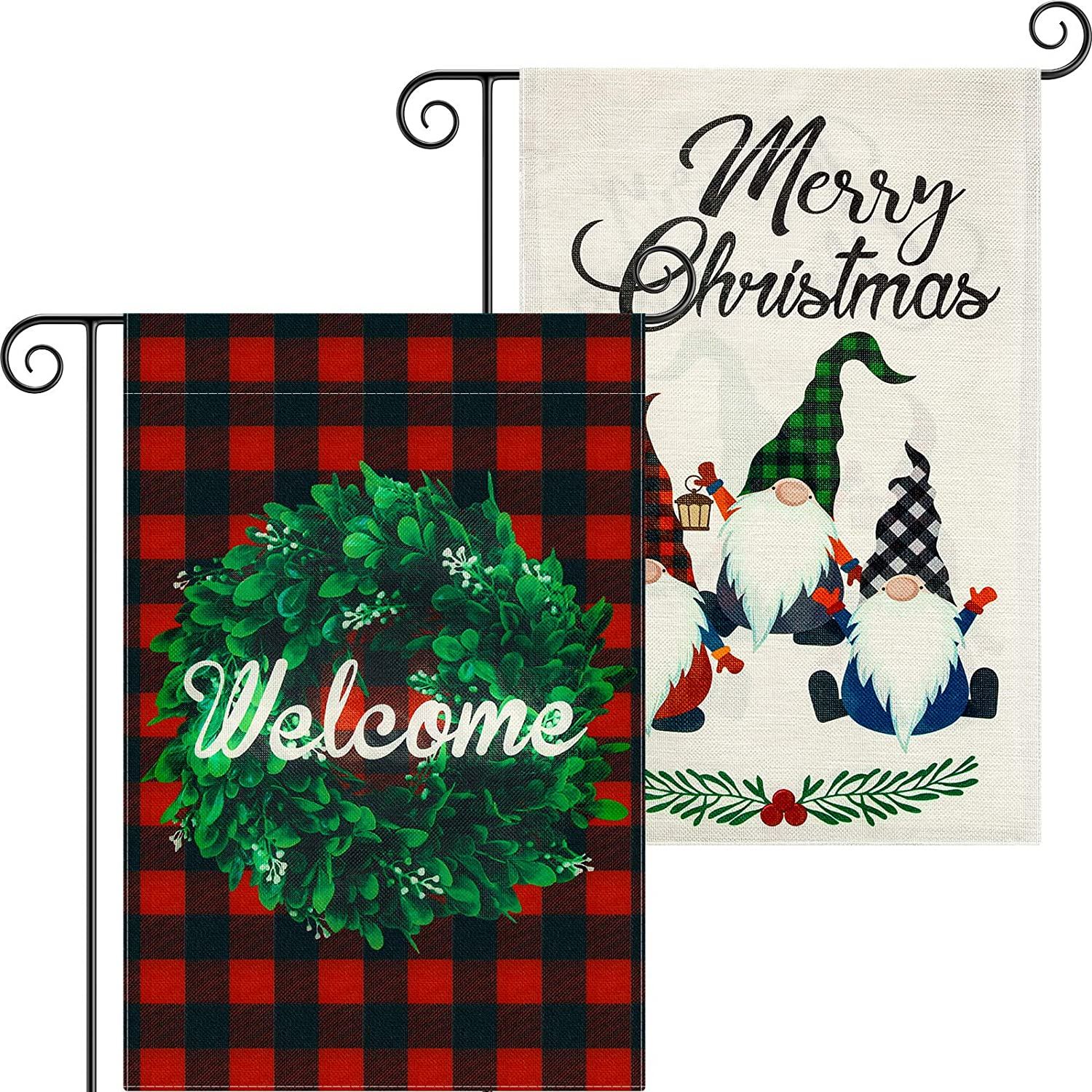 Tatuo 2 Pieces Christmas Garden Flag Double Sided Welcome House Flag with Boxwood Wreath and Santa Merry Christmas Outdoor Decoration Flag for Winter Holidays Garden Decorations, 18.5 x 12.6 Inches